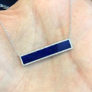 Jewelry - 14k White Gold Lapis Diamond Necklace!!!